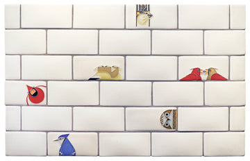 Charley Harper Subway Tile Collage, Cream