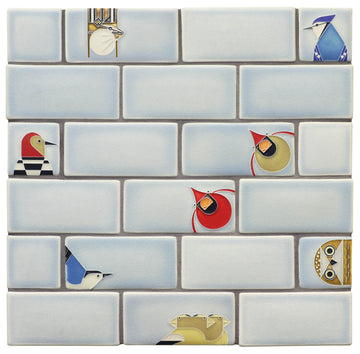 Charley Harper Subway Tile Collage, Ice Blue