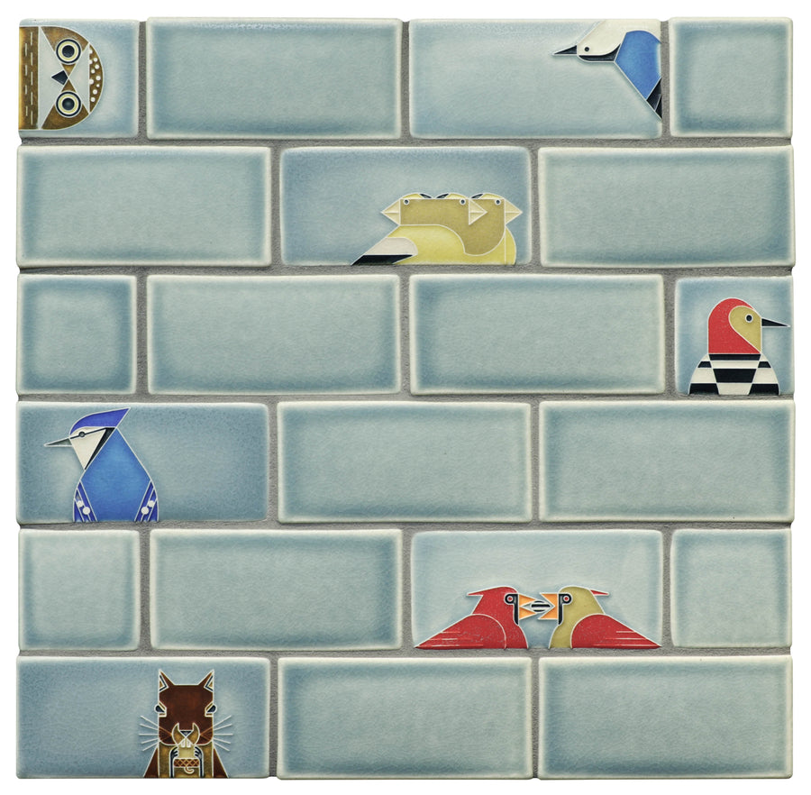 Charley Harper Subway Tile, Storm Blue