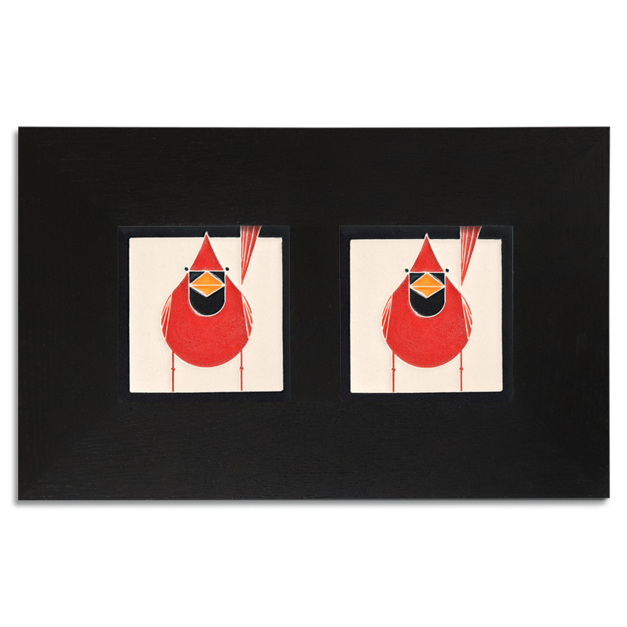 4x4 Charley Harper Cardinals Framed Set (Male), Ebony Finish