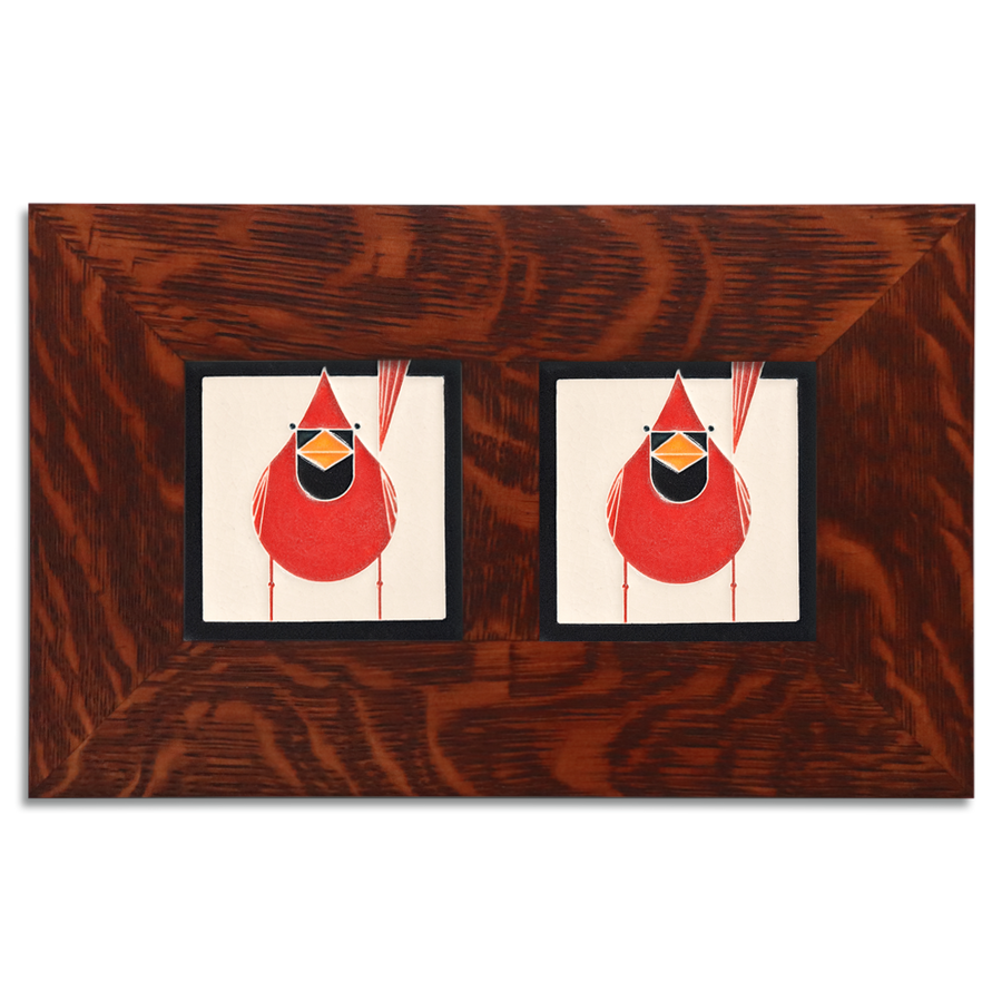 4x4 Charley Harper Cardinals Framed Set (Male), Oak Finish