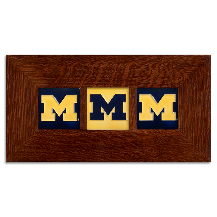4x4 Block M Framed Tile Set - Maize and Blue (Horizontal)