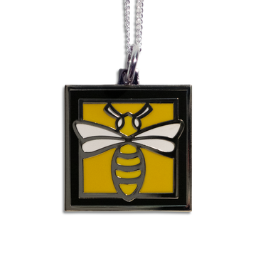 Bee Pendant Necklace - Black Border