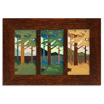 4x8 Seasonal Pine Landscape Framed Craftsman Oak Park Tile Set (Horizontal)