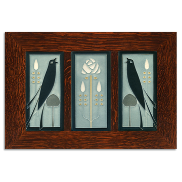 4x8 Songbirds (Grey Blue) Framed Craftsman Oak Tile Set