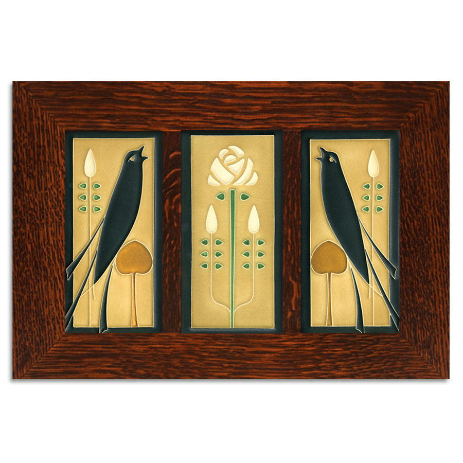 4x8 Songbirds (Golden) Framed Craftsman Oak Tile Set