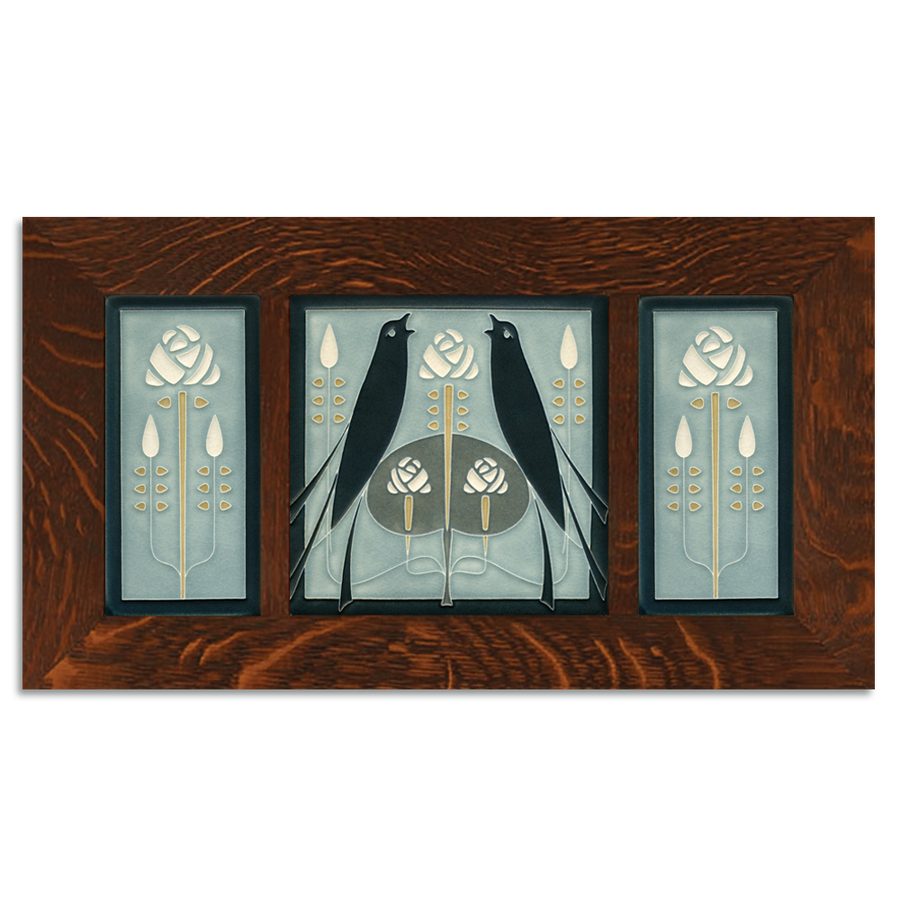 4x8 & 8x8 Songbirds & Long Stem (Grey Blue) Framed Craftsman Oak Tile Set