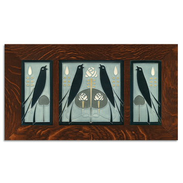 4x8 & 8x8 Songbirds (Grey Blue) Framed Craftsman Oak Tile Set