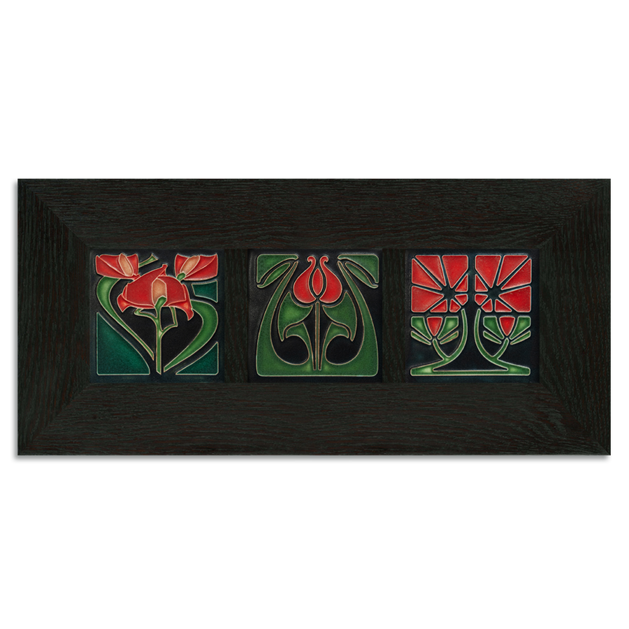 4x4 Florals Framed Tile Set (Red) Ebony Oak Park (Horizontal)