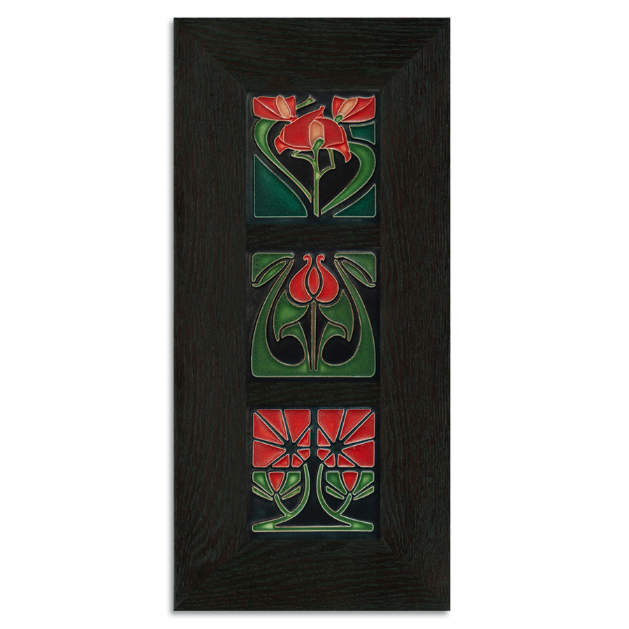 4x4 Florals Framed Tile Set (Red) Ebony Oak Park (Vertical)