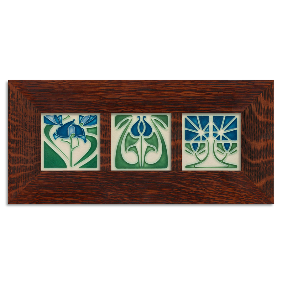 4x4 Florals Framed Tile Set (Blue) Craftsman Oak (Horizontal)