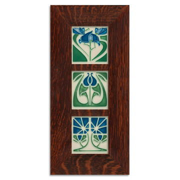 4x4 Florals Framed Tile Set (Blue) Craftsman Oak (Vertical)