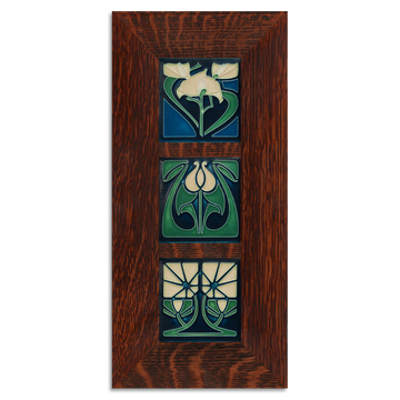 4x4 Florals Framed Tile Set (Indigo) Craftsman Oak (Vertical)