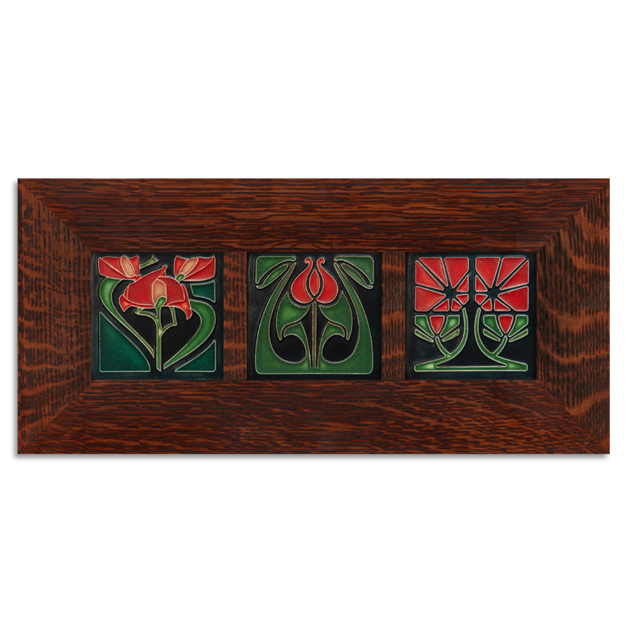 4x4 Florals Framed Tile Set (Red) Craftsman Oak (Horizontal)