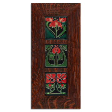 4x4 Florals Framed Tile Set (Red) Craftsman Oak (Vertical)