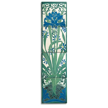 8x32 Amaryllis Mural, China Blue