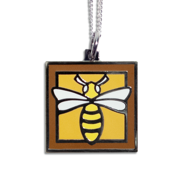 Bee Pendant Necklace - Brown Border