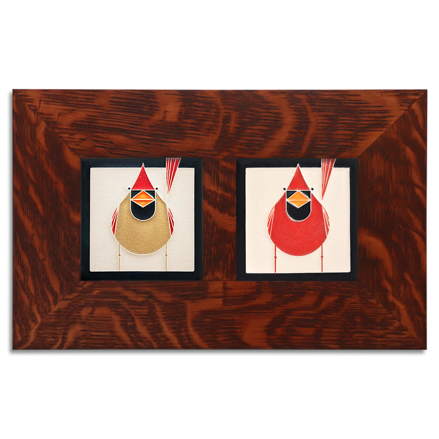 4x4 Charley Harper Cardinals Framed Set, Oak Finish