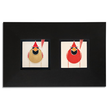 4x4 Charley Harper Cardinals Framed Set, Ebony Finish