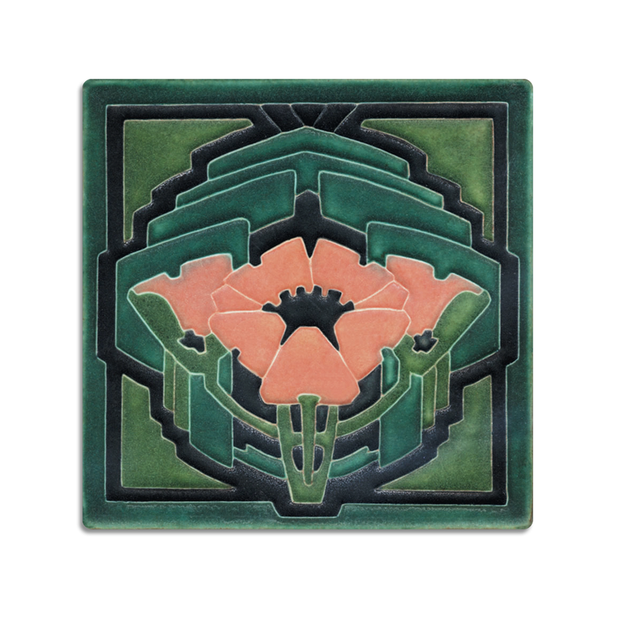 6x6 Poppy, Green Salmon