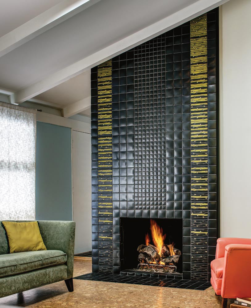 Zelda Fireplace, Shown in Retro Lime