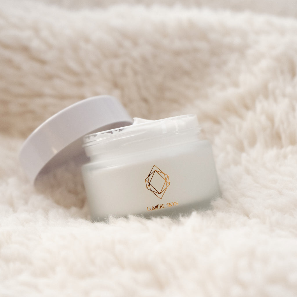 Hydrating Face Moisturizer Open Cap On Sheepskin Rug