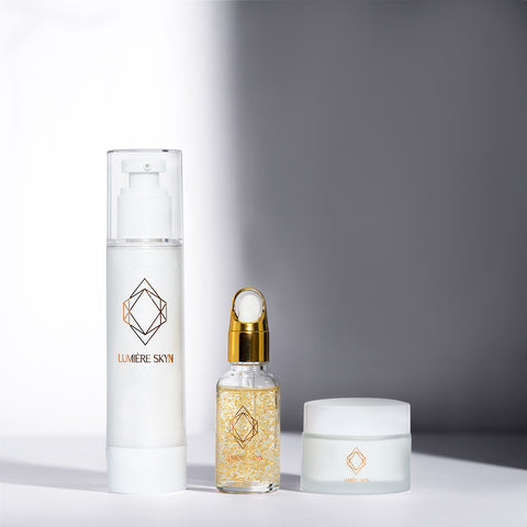 Glo Max Collection by Lumiere Skyn Includes face serum, face moisturizer, and daily foam face cleanser for anti-aging and skin rejuvenation