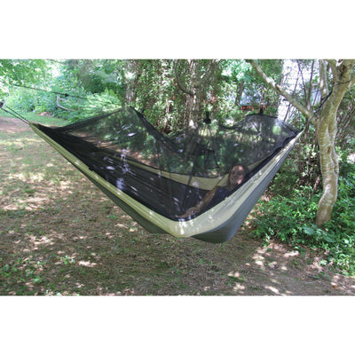 Byer of Maine Mosquito Kakoon Hammock hanging on trees