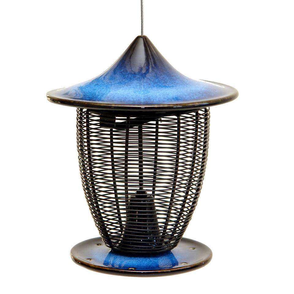 Alcyon Bird Feeder - cobalt blue