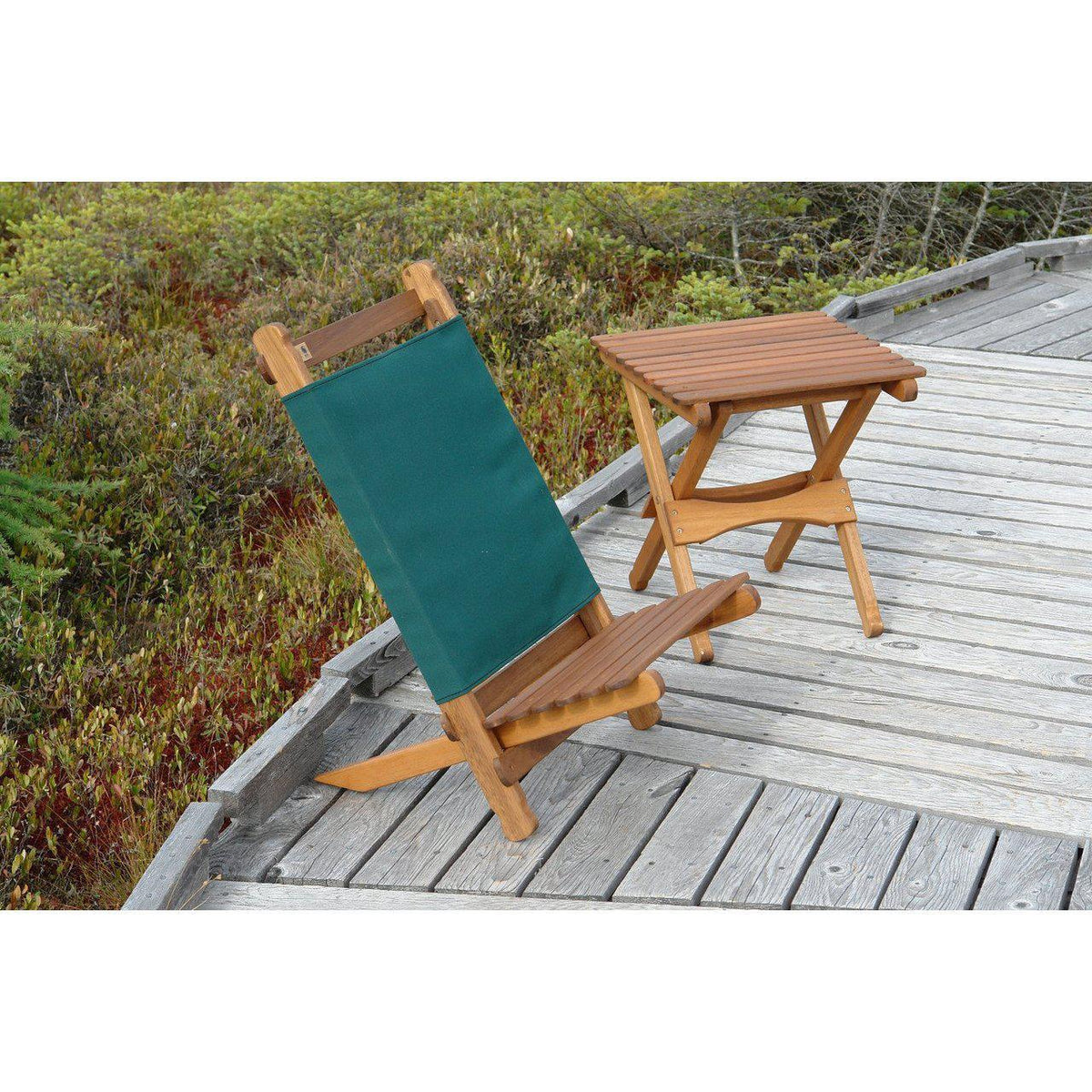 Pangean Lounger pictured wiht the folding table at the Orono Bog Walk