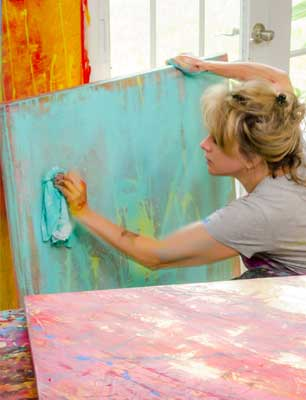 Renee Harp in Action - Aqua Painting