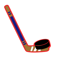 Hockey Stick & Puck (one piece) - 3 inch Keychain