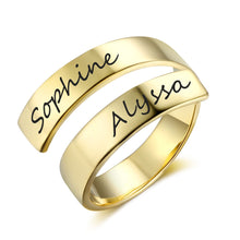 Load image into Gallery viewer, Promise Ring For Her - Personalized Adjustable Rings, 2 Names Engraved