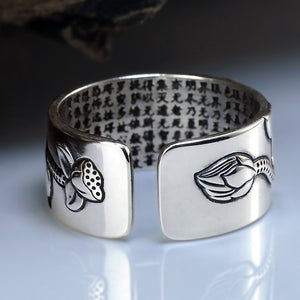 Lotus Ring with Heart Sutra - Pure Sterling Silver