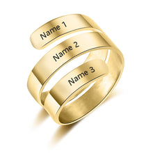 Load image into Gallery viewer, Promise Ring For Her - Personalized Adjustable Rings, 3 Names Engraved