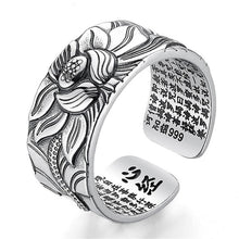 Load image into Gallery viewer, Lotus Flower Ring with Heart Sutra - Pure Sterling Silver