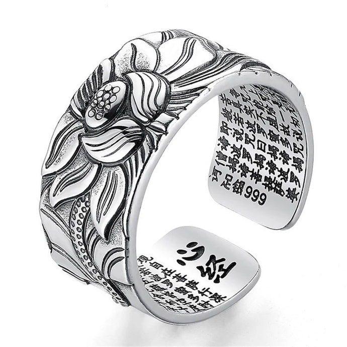 Lotus Flower Ring with Heart Sutra - Pure Sterling Silver