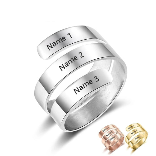 Promise Ring For Her - Personalized Adjustable Rings, 3 Names Engraved