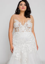 Load image into Gallery viewer, Gorgeous bridal gowns for all body shapes: plus size, curvy, or petite brides. Try on our wedding dresses at home. Size 0-30. Comfortable. Convenient. Fun. Lace or satin. Mermaid or A-line. The lace v-neck top meets an ivory skirt that has complementary tulle and lace featured together, giving some unexpected, but welcome twists. The beautiful ivory lace pattern of this skirt draws down into a dramatic, romantic tulle trumpet that will figure-flatter and add interest.