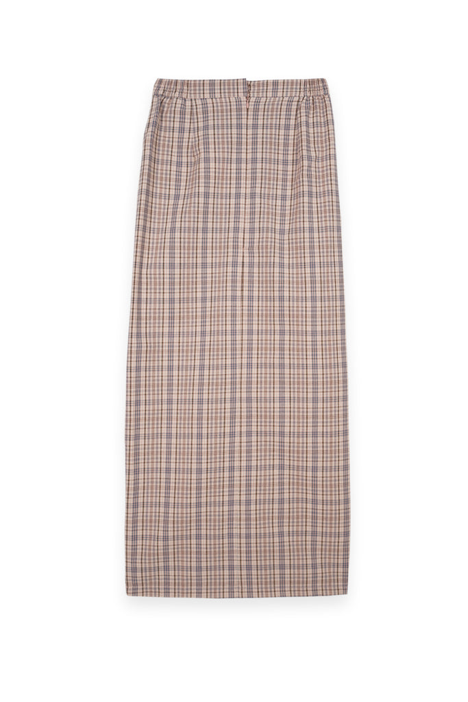 The Bangun Women Buttons Folded Skirt - Checked Box