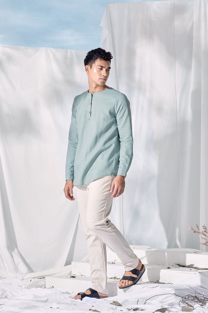 The Langit Men Kurta - Frosty Green