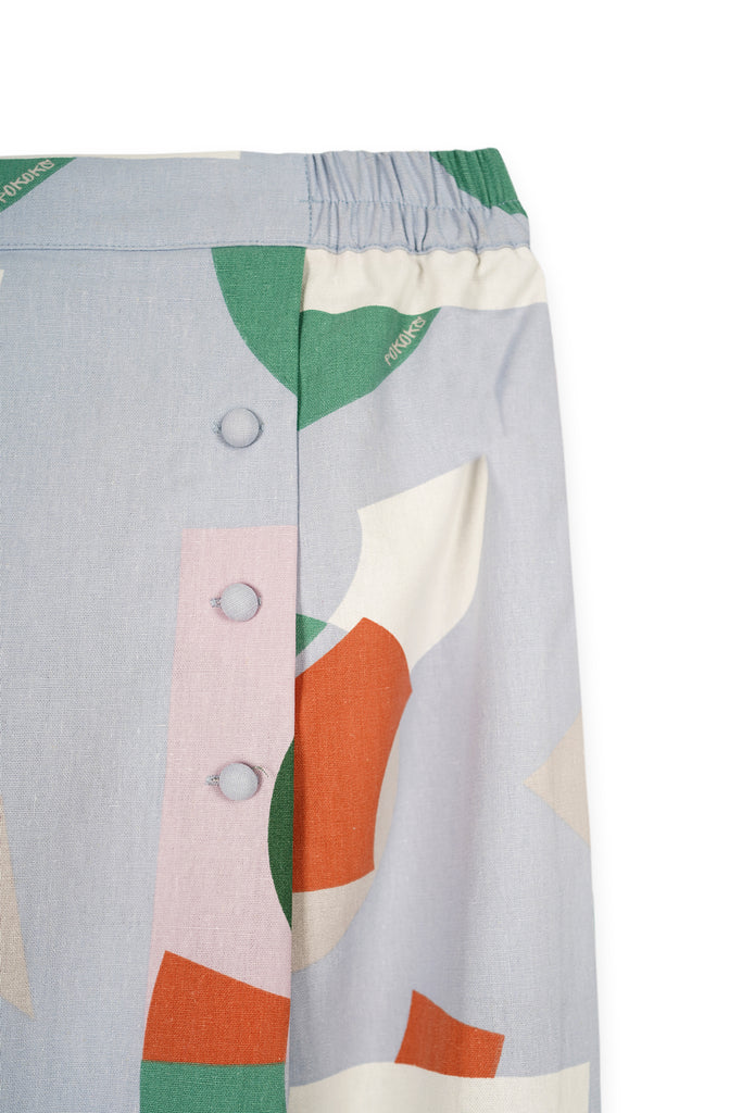 The Bangun Women Buttons Folded Skirt - Lumi Print