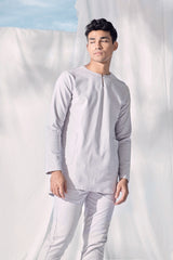 The Langit Men Baju Melayu Shirt With Pair Pockets - Light Grey