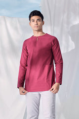 The Langit Men Baju Melayu Shirt With Pair Pockets - Maroon