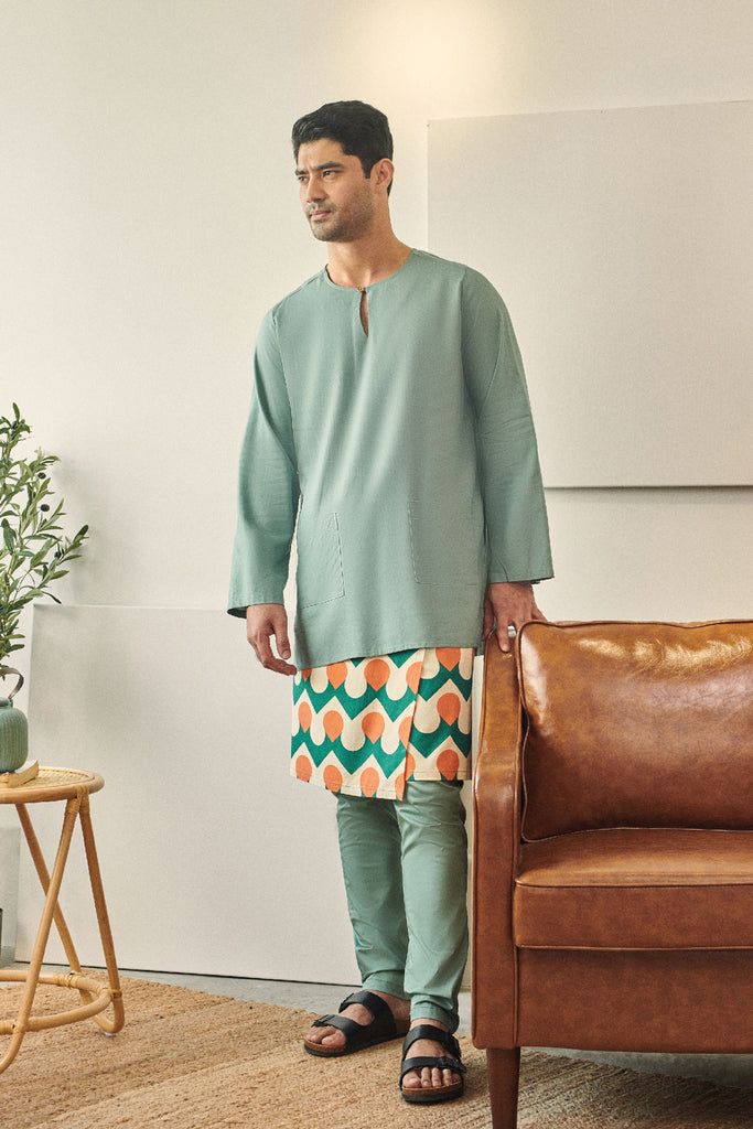 Rasa Sayang Men Kurta - Vegan Green
