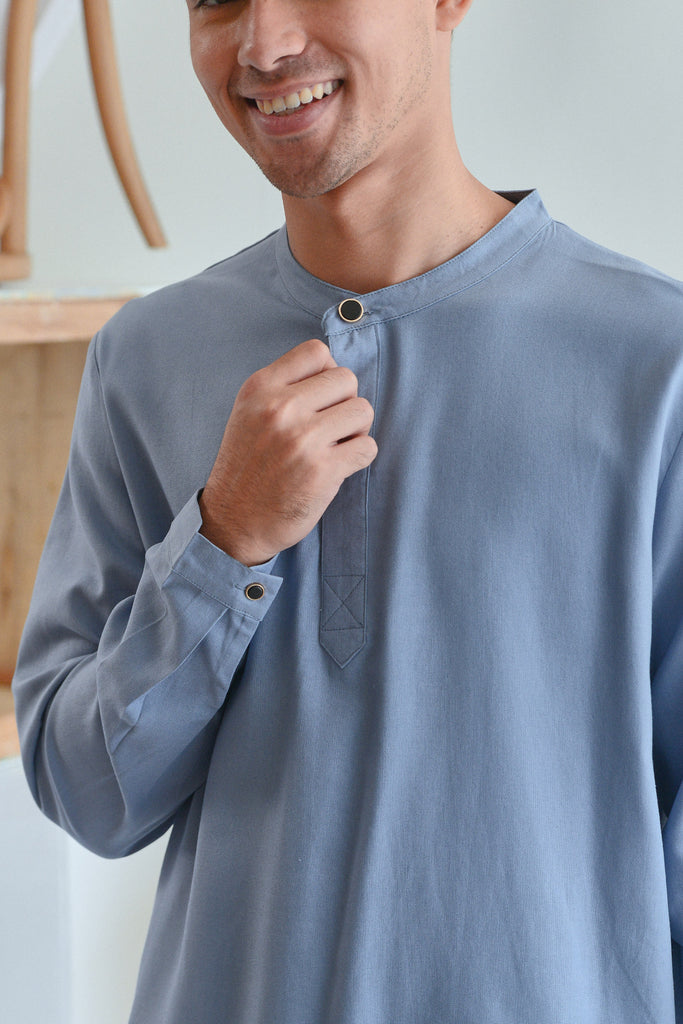 The Sungai Men Baju Melayu Top - Light Pigeon Blue