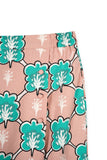 The Bangun Women Buttons Folded Skirt - Broccoli Print