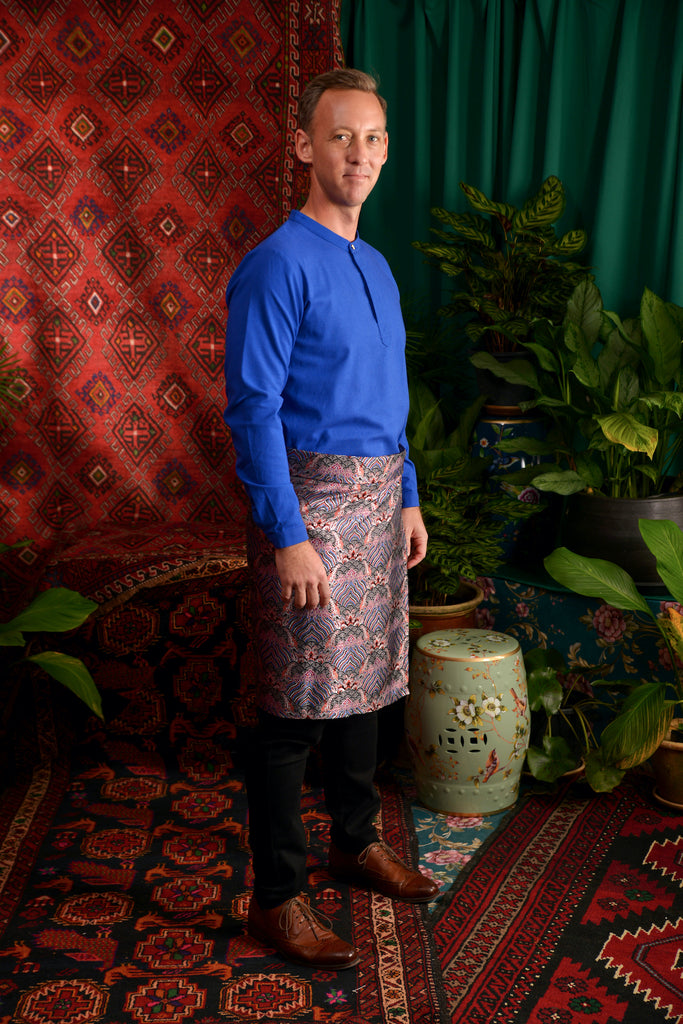 The Teratai Men Mandarin Kurta - Royal Blue