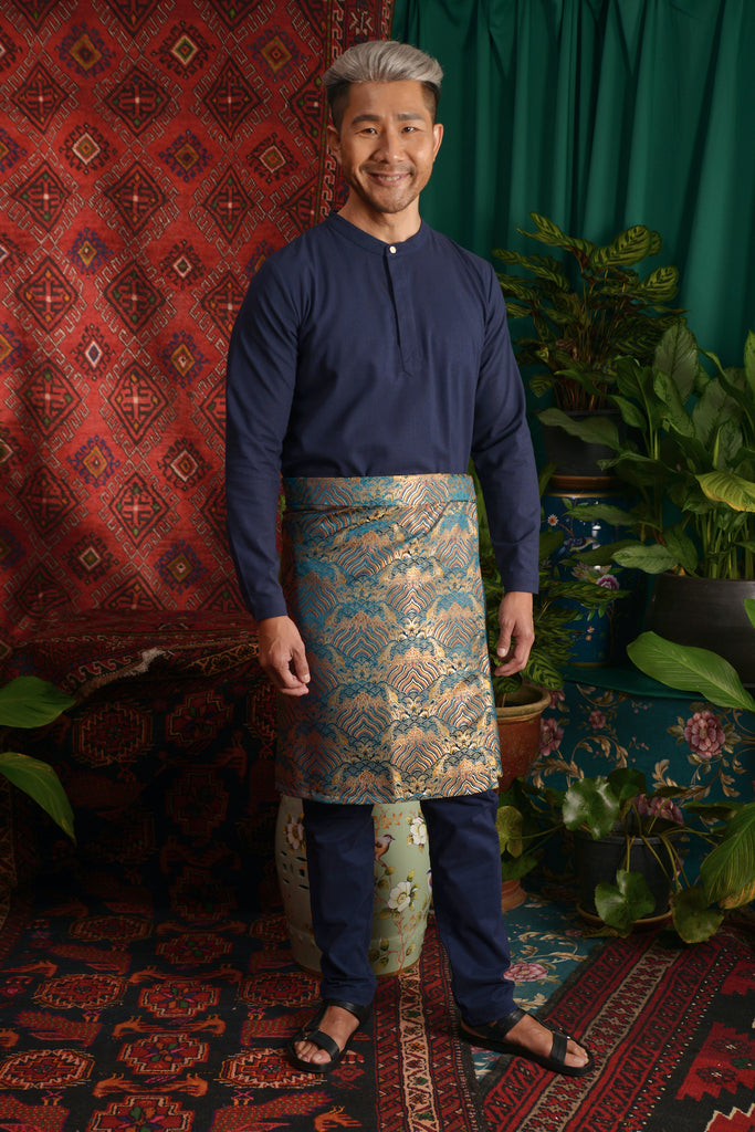 The Teratai Men Mandarin Kurta - Navy Blue