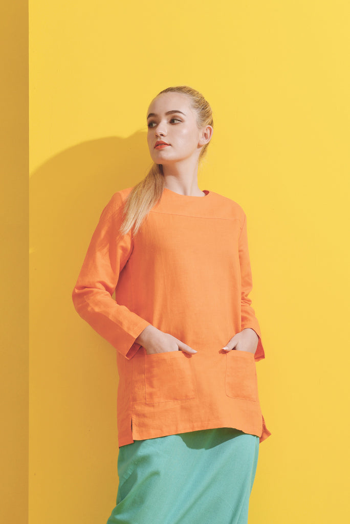 The Kurnia Women Yoke Blouse - Orange